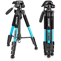 ZOMEI Z666 Portable Pro 56-inch Tripod Compact Lightweight Camera Stand with Quick Release Plate Pan Head for Digital SLR Canon EOS Nikon Sony Panasonic Samsung(Blue)