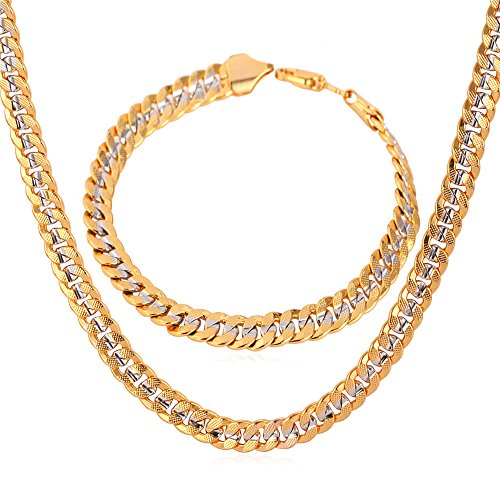 (U7 Men Two-Tone Gold Chain Platinum & 18K Gold Plated Cuban Curb Chain Necklace Bracelet Set)