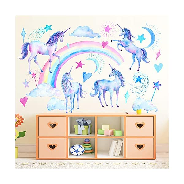 HAOLEJIA Beautiful Kids' Bedroom Unicorn Wall Sticker Decal,3D Art Decal Sticker for Child Room Wall Decoration 6