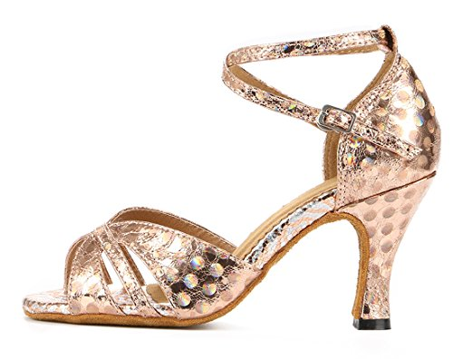 Sandals Heel Toe Flared Gold MGM Ballroom Salsa Dance Modern Women's Joymod Comfort Heel Floral 8cm Shoes Wedding Tango Prom Latin Peep Party xIxUTqw