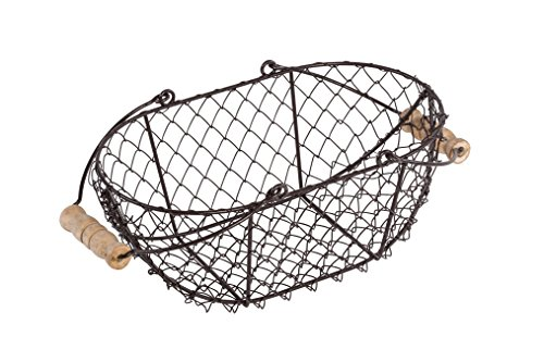 Oval Wire Basket with Wooden Handles - Vintage Style - By Trademark Innovations