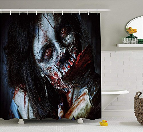 Yomyceo Zombie Decor Shower Curtain, Scary Dead Woman with Bloody Axe Evil Fantasy Gothic Mystery Halloween Picture, Fabric Bathroom Decor Set with Hooks, 60X72 Inches, Multicolor -