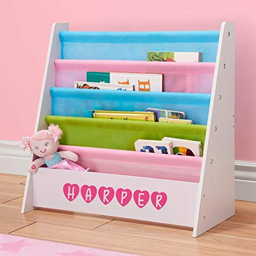 Personalized Dibsies Kids Bookshelf - White with Pastel Fabric ()