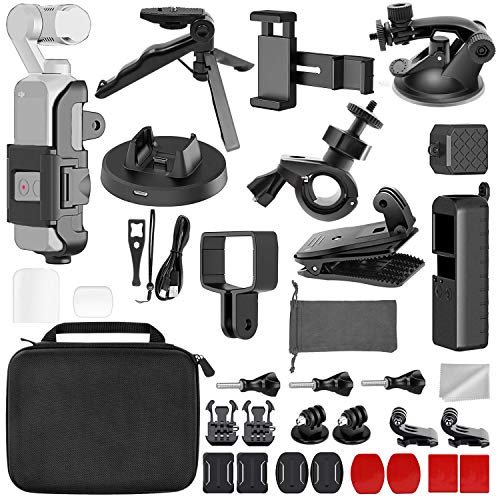- LANYIB 33-in-1 OSMO Pocket Accessories Kit, DJI Osmo Pokcet Expansion Kit Including Extension Holder, Mobile Phone Holder, Tripod, Car Suction Cup Bracket, Strap Clip, Charging Base and More