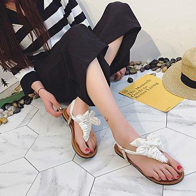 Wome's sandalias Verano Confort Casual de tela plana Bowknot tal¨®n caminando US8 / EU39 / UK6 / CN39