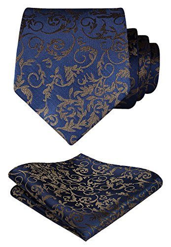 Brown Square Neck (HISDERN Paisley Wedding Tie Handkerchief Woven Classic Men's Necktie & Pocket Square Set Navy Blue & Brown)
