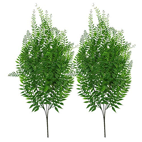 2Pack Artificial Ivy Leaf Garland Willow Vine Handing Artificial Plants Greenery Stems 26.7''Tall Fake Foliage for Wedding Home Party Decor Table Backyard Indoor (Color - Willow Stems