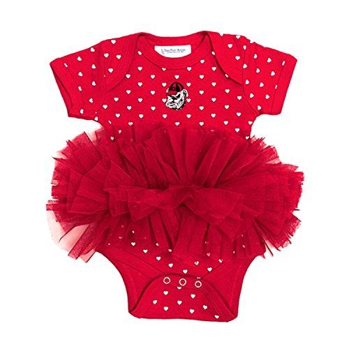 Georgia Bulldogs Newborn Infant Polka Dot Tutu Creeper Bodysuit (0-3 Months)