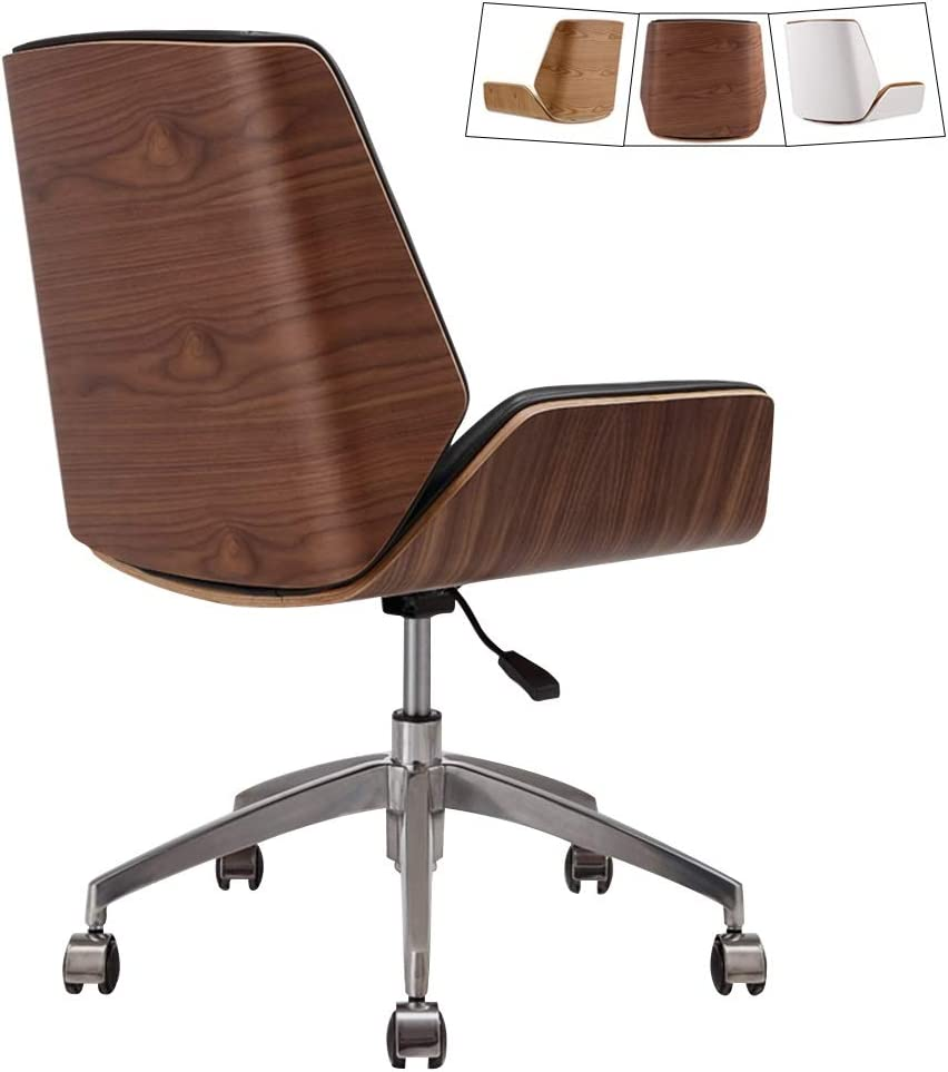 Mid Century Modern Office Desk Chair With Cipri Leather Upholstery, Adjustable Height Armless Swivel Chair, Mid Back Rolling Chair with Wheels, Stainless Steel Legs ( Color : Walnut Look Black )