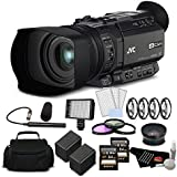 JVC GY-HM170UA Ultra 4K HD CAM Compact Professional Camcorder with Top Handle Audio Unit Bundle with Memory Card, JVC XLR Microphone, More