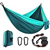 CAMDEA Double Camping Hammock with Tree Straps, Ultra Lightweight Portable Hammock, Hammock Tent Swing for Sleeping, Travel, Outdoor, Beach, Hiking (Hammock (Blue)) …
