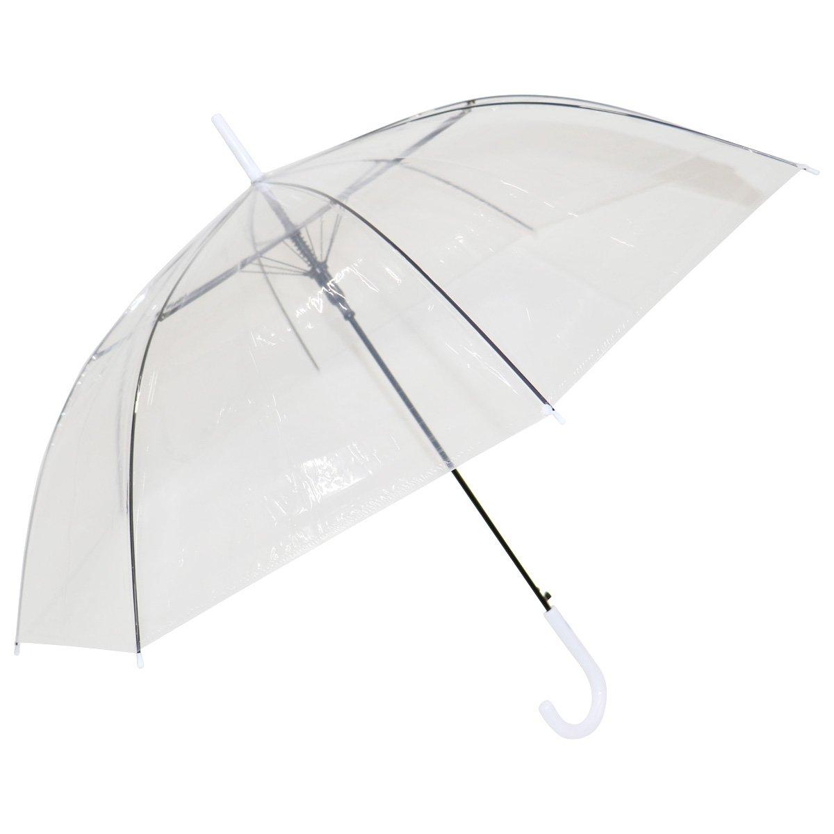 ビニール傘 透明 60cm ジャンプ式 48本 送料無料 傘 かさ まとめ買い 業務用 激安 (ホワイト) B079XYCTBC