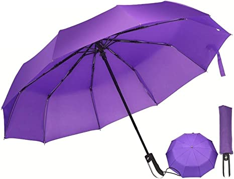 Auto Open//Close Ergonomic Non-Slip Handle Compact Umbrella,Purple Jellyfish Automatic Folding Travel Umbrella