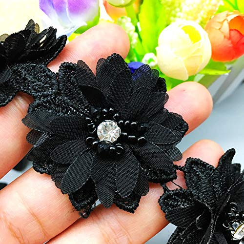 Lace Craft - 1 Yd 3D Diamond Black Flower Beaded Chiffon Lace Fabric Wedding Embroidered Applique DIY Handmade Patchwork Ribbon Sewing ()