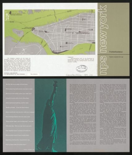 - 1975 Map Freiheitsstatue Nationaldenkmal, New York - Size: 20x24 - Ready to Frame - New Jersey | New