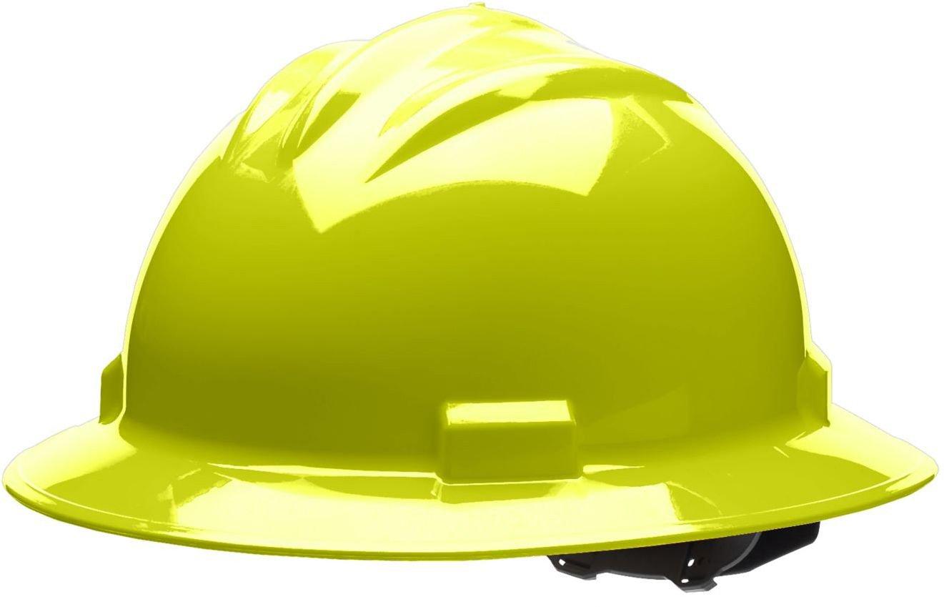 Cotton Brow Pad One Size Bullard 71HYP Standard Series Full Brim Hard Hat 4 Point Pin Lock Suspension Hi-Viz Yellow
