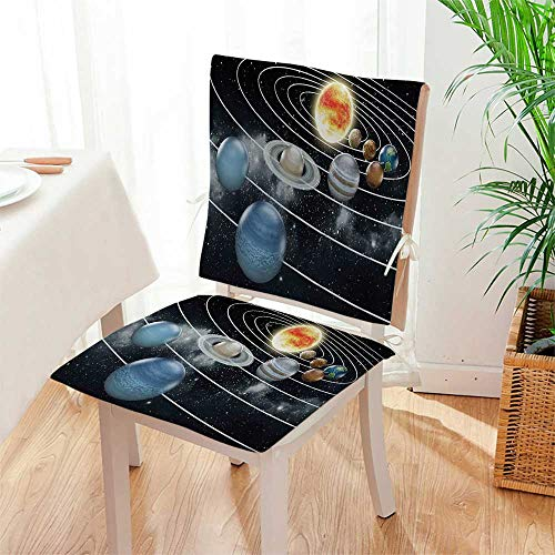 Mikihome 2 Piece Set Cushion Solar System All Eight Planets and The Sun Pluto Jupiter Mars Venus Science Includes Seat and Backrest Mat:W17 x H17/Backrest:W17 x H36 by Mikihome