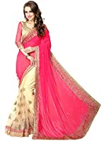 RHMART Women's Embroidered Half and Half Party wear,Wedding sarees With Blouse Piece