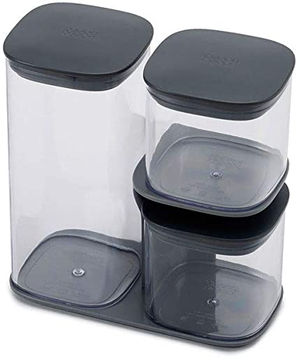 Joseph Joseph 81072 Podium 3 Piece Air Tight Kitchen Storage Jar Set With Stand Grey Set Of 3 Amazon Co Uk Kitchen Home