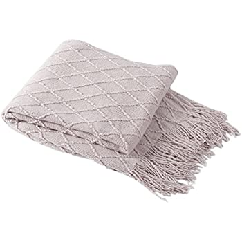 """BOURINA Coral Throw Blanket Textured Solid Soft Sofa Couch Decorative Knitted Blanket, 50"""" x 60"""", Purple"""