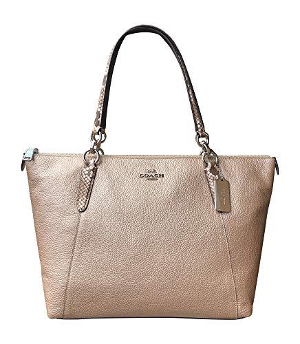 Coach Metallic Leather Exotic Trim AVA Tote Handbag, Platinum