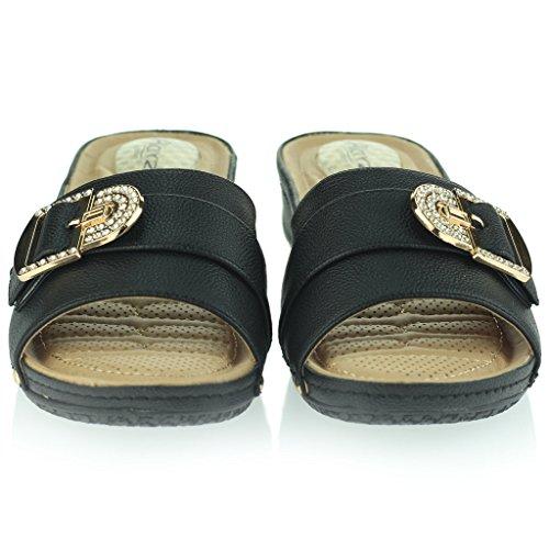 Mujer Señoras Puntos de Presión Amortiguado Respirable Suave Flexible Antideslizante Único Masaje Casual Ponerse Tacón de Cuña Sandalias Zapatos Talla Negro