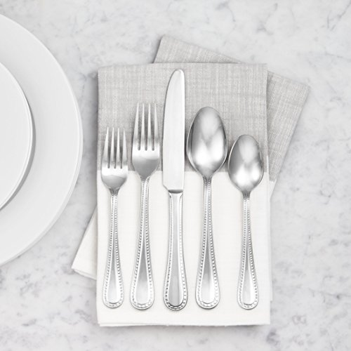 AmazonBasics 20-Piece Stainless Steel Flatware Set with Pearled Edge, Service for 4 by AmazonBasics (Image #2)
