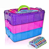 Black & White Label Company Holds 600 - Tiny Toy Box Storage Case Organizer Container - Stackable Collectors Carrying Tote Compatible With All Miny Toys(Rainbow)