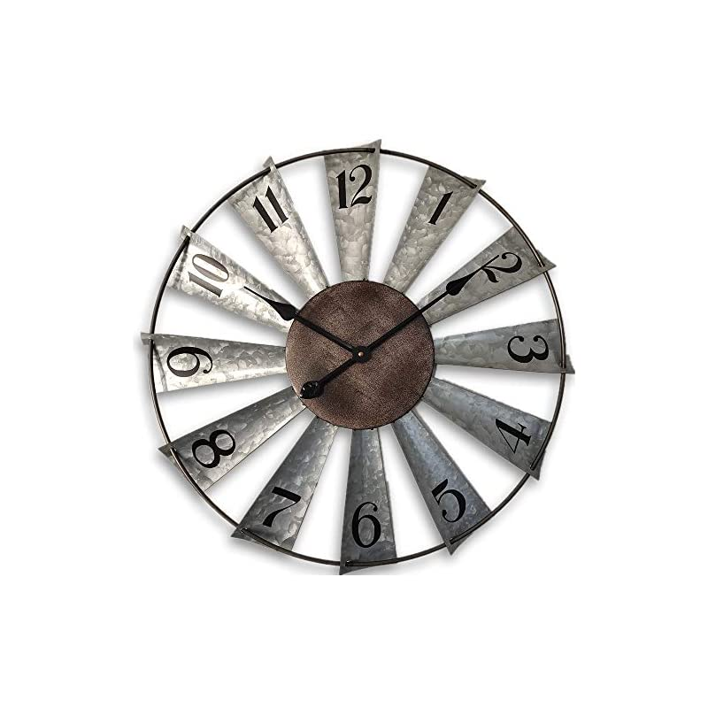 24inch Windmill Distressed Metal Wall Clocks Rustic Large Decorative Clock Oversized Farmhouse Decor,Non Ticking,Battery…