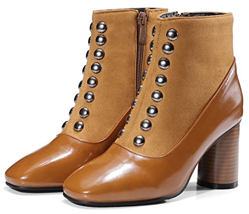 Fashion Easemax Rivet Brown Mid Boots Chunky Ankle Up Zip Toe Heel Women's With Square 7wrw5