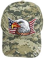 Aesthetinc Patriotic USA American Eagle American Flag Baseball Cap Embroidered