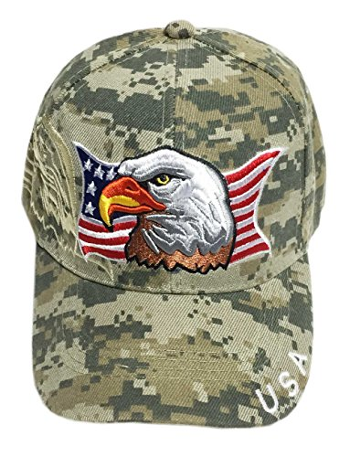 Aesthetinc Patriotic USA American Flag Print Baseball Cap Embroidered (Army Digital Camo) ()
