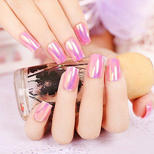 24pcs Fashion Style Symphony Shell Color Pink Purple Metal Shine Bent Lady Artificial False Nail Tips Z108
