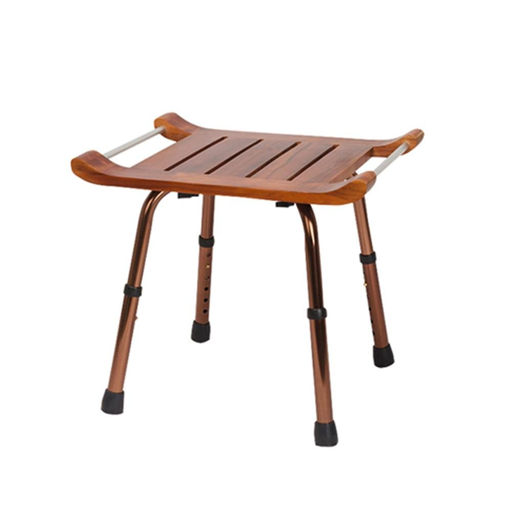 TSAR003 Waterproof Non-Slip Teak Bath Stool Adjustable Height Of 330 Pounds Load