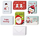 48 Pack with Envelopes - Assorted Holiday Christmas Greeting Cards - Festive Classic Character Designs: Penguin, Snowman, Santa, Polar Bears, Snowflakes - Multicolor - 4 x 6 Inches