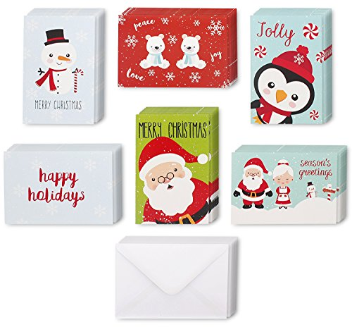 48 Pack with Envelopes - Assorted Holiday Christmas Greeting Cards - Festive Classic Character Designs: Penguin, Snowman, Santa, Polar Bears, Snowflakes - Multicolor - 4 x 6 Inches - Holiday Card Seals