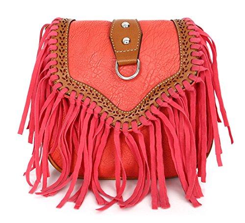 Keshi neuer Stil Damen Handtaschen, Hobo-Bags, Schultertaschen, Beutel, Beuteltaschen, Trend-Bags, Velours, Veloursleder, Wildleder, Tasche Rot