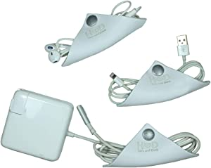 Cord Keeper (Cord Wonton) Leather Cord Organizer 3-Pack Handmade by Hide & Drink :: White