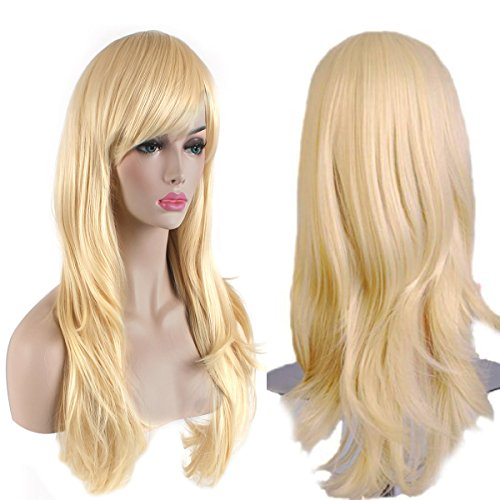 AKStore Women's Heat Resistant 28-Inch 70cm Long Curly Hair Wig with Wig Cap, Golden (Fake Wigs)