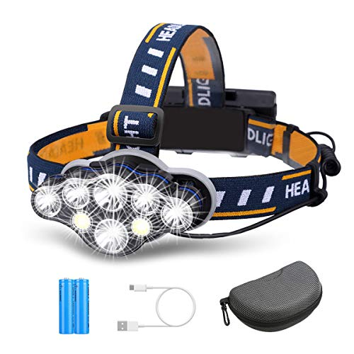 OUTERDO Rechargeable Headlamp,8 LED Headlamp Flashlight 8 Modes with USB Cable 2 Batteries, Waterproof LED Head Torch Head Light with Red Light for Camping Fishing, Car Repair, Outdoor