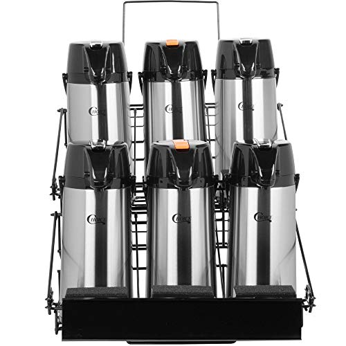 TableTop King 7-Piece Airpot Merchandising Rack Set with (1) Rack and (6) 2.2 Liter Glass Lined Airpots