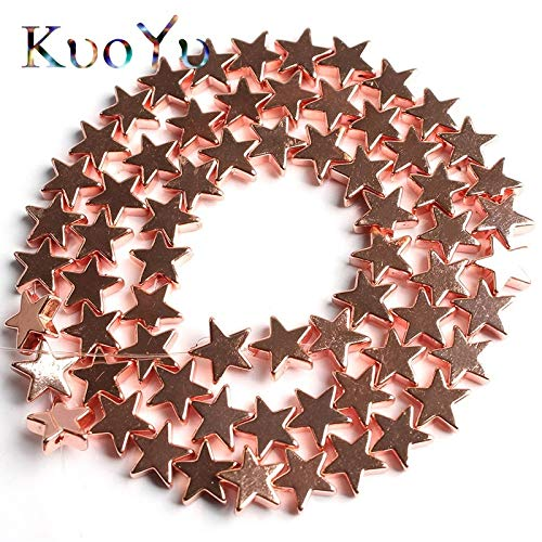 Calvas Natural Stone Rose Gold Flat Stars Hematite Beads Pentagram Shape Loose Bead 4/6/8/10mm for Jewelry Making DIY Bracelet Material - (Item Diameter: 8mm 46pcs - Star Stones Shape Gold