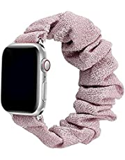 Scrunchie Strap for Apple watch band 44mm 42mm Elastic Nylon Solo Loop bracelet iWatch series 6 5 4 3 se band - color pink with glitter