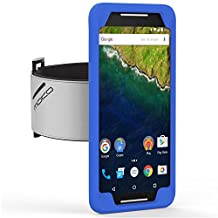 Nexus 6P Armband, MoKo Silicone Armband for Google Nexus 6P by Huawei 5.7 Inch Smartphone 2015 - Key Holder Slot, well-rounded protection, Perfect Earphone Connection while Workout Running, INDIGO
