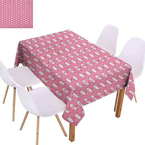 (Wrinkle Resistant Tablecloth Cat Adorable Funny Kitten Faces Expressions Smiling Furry Cartoon Characters on Polka Dots and Durable W52 xL70 Pink)