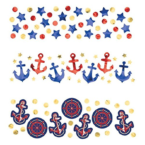 Amscan Anchor's Aweigh Nautical Party Ship's Wheel and Lifesavers Confetti Decoration (Pack Of 1), Multicolor, 1.2
