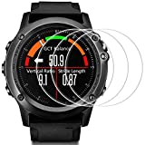 Screen Protector for Garmin Fenix 3 HR, AFUNTA 3 Pack Tempered Glass Film Anti-Scratch High Definition Full Coverage Cover for Smartwatch