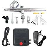 Podoy Portable Mini Airbrush with Air Compressor Kit for Cake Decorating, Models, Painting,Makeup,Nails