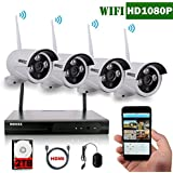 【2018 update】OOSSXX 8-Channel HD 1080P Wireless IP Security Camera System(IP Wireless WIFI NVR Kits),4Pcs 1080P 2.0 Megapixel Wireless Indoor/Outdoor IR Bullet IP Cameras,P2P,App, HDMI Cord & 2TB HDD