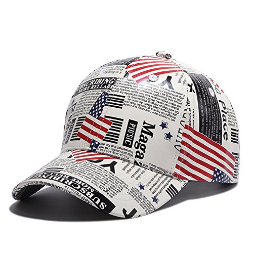 BOXMO Men Women Skull American Flag Embroidery Adjustable Cool Hats Hip Hop Hat Baseball Cap (PU Leather American Flag Art) - Mens Leather Usa Flag